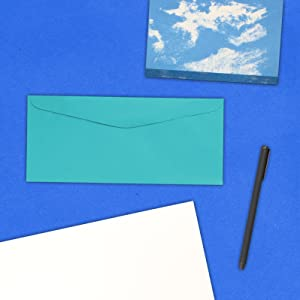 sea blue #9 business colored envelope