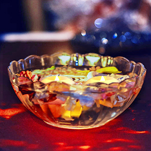 Flameless Floating Candle with Glass Bowl
