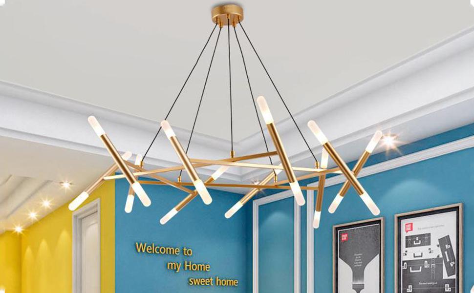 20-Light Polygonal Chandelier Light Fixture