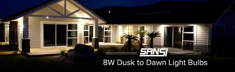 SANSI 8W Dusk to Dawn Light Bulbs LED Light Bulbs D2D Outdoor Light Bulb Security Sensor 2 Pack