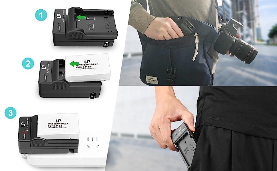 EY /_ am /_ eg /_ 2 pantalla LCD de Puerto Dual USB Cargador Para Cámara CANON LP-E5 me de litio
