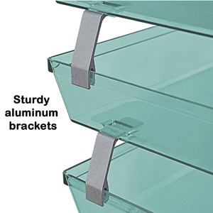 acrimet facility letter tray 3 tier side load clear green color