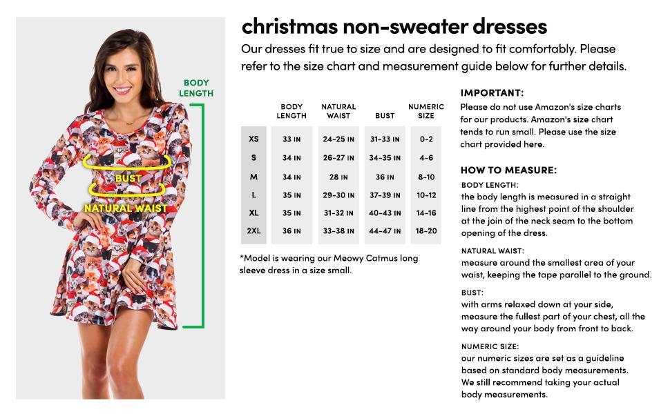 Non Sweater Dress Size Chart