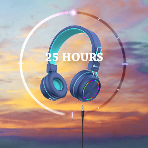 kids headphones headphones for kids kid wireless headphones kids headphones with volume control - IClever BTH03 Kids Bluetooth Headphones, Colorful LED Lights Kids Headphones With MIC, 25H Playtime, Stereo Sound, Bluetooth 5.0, Foldable, Childrens Headphones On Ear For Study Tablet Airplane, Blue
