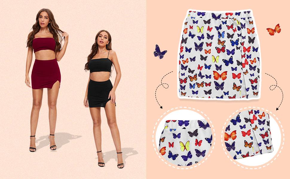 Verdusa Women's Front Asymmetrical Slit Split Thigh Mini Short Skirt