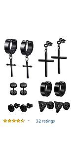 small stud earrings set stainless steel earrings stainless steel earrings black stainless steel