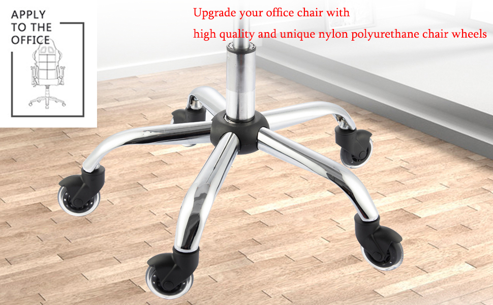 Upgrade your office chair with high quality and unique nylon polyurethane chair wheels