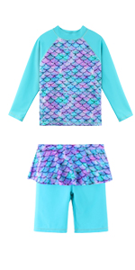 Girls 2pcs Swimsuits with ruffle skirt