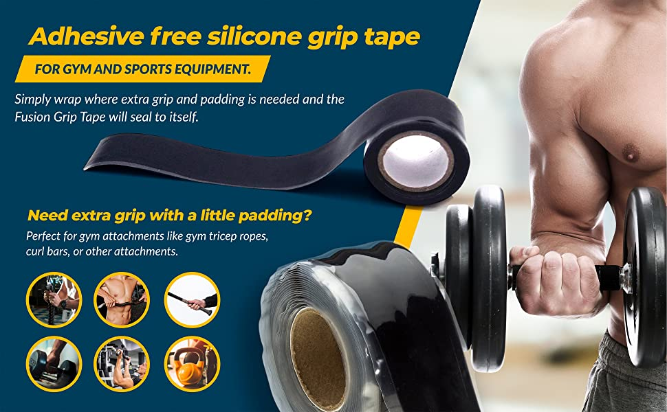 Fusion Silicone Tape for tools, baseball bats, barbells, ropes and more.