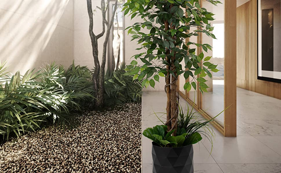 artificial tree fake ficus home décor plant indoor silk leaf luxury deluxe 6 feet 72 inches