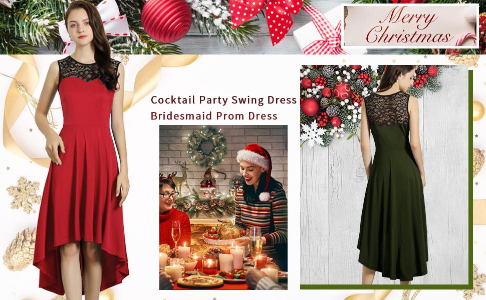 Christmas Lace Top Vintage Dress