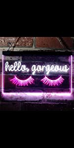 ADVPRO Dual-Color LED Neon Sign Home decor-ation wall Hello Beautiful Gorgeous sexy lashes blink eye