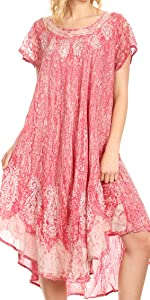 short sleeve lace summer casual lightweight cover-up caftan print bikini boho high low round neck