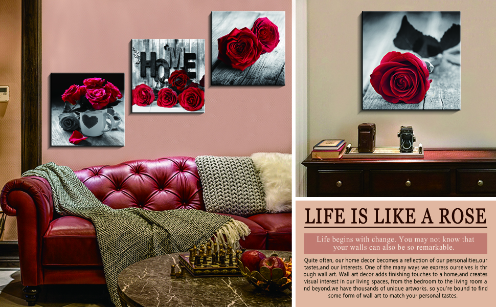 Rose Wall Decor is fit of living room, bedroom, kitchen, bathroom, office, kitchen, apartment,etc.