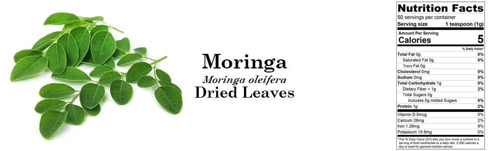 Organic Moringa (Moringa oleifera) Dried Leaves 50g 1.76oz
