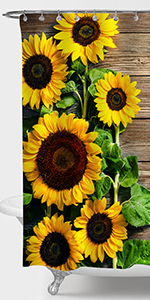 Sunflower on the Rustic Farmhouse Wooden Board Shower Curtain