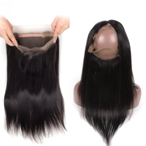 Brazilian Virgin Human Hair Straight 360 Lace Frontal with Baby Hair pre Plucked