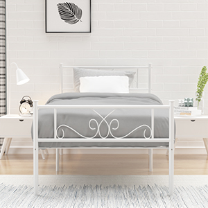 metal bed twin  SimLife Single Bed Platform Kids Boys Adult No Box Spring Needed Princess White Twin Size Bed Frame with Headboard and Footboard Mattress Foundation d23ba27e 93b0 4ee2 ac01 bdbb11d29a1f