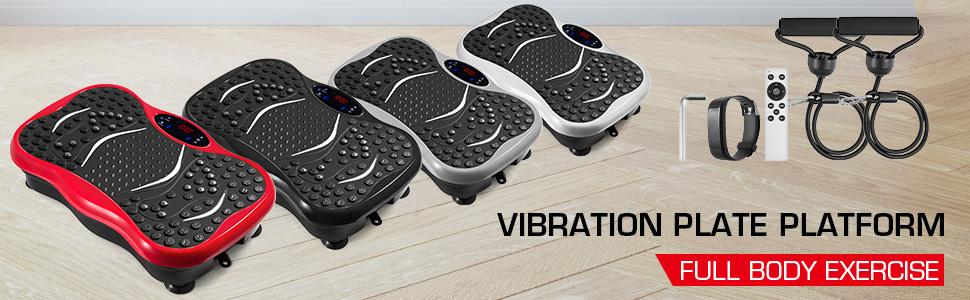 Schwarz VEVOR Fitness Vibrationsplatte mit LCD Fitness Matte 3 Ebenen Massage Remote Bluetooth USB Musik Intelligente Uhr Fitness-Maschine f/ür Zuhause und B/üro mit N/ützliches Zubeh/ör