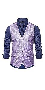 Mens Vest Floral Jacquard Slim Fit Single Breasted V-Neck Dress Suits Waistcoat