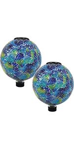 azul terra glass gazing globe with solar light, set of 2