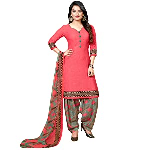 Rajnandini Women's Peach And Dark Green Crepe Printed Unstitched Salwar Suit Material