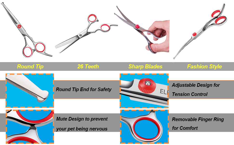 Grooming Scissors with Round Tip for Dogs