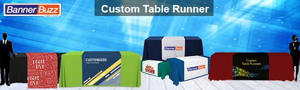 custom table runner banner for trade show events