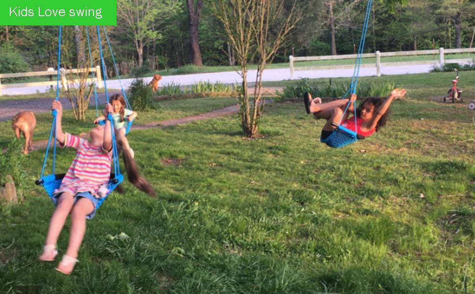 LUVIN Tree Swing Adjustable Hanging Ropes Heavy Duty Indoor Outdoor Saucer Tree Swing Backyard Net