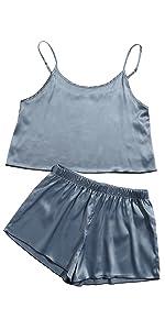 SheIn Women's Sleeveless Wavy Trim Two Piece Cami and Shorts Pajama Set Sleepwear