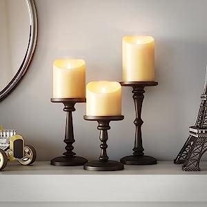 decoraci/ón boda negro oraci/ón portavelas negro hogar fiesta Le Destin Portavelas de 4 piezas 10 x 1,5 cm velas de incienso para velas de cera spa portavelas de metal