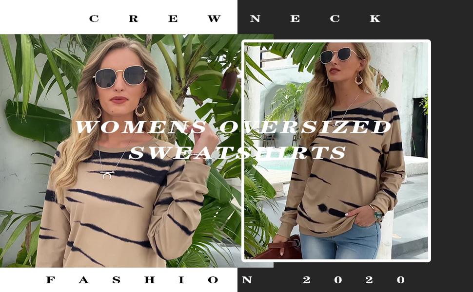 Crewneck Sweatshirts Women Oversized Long Sleeve Tops Pullover