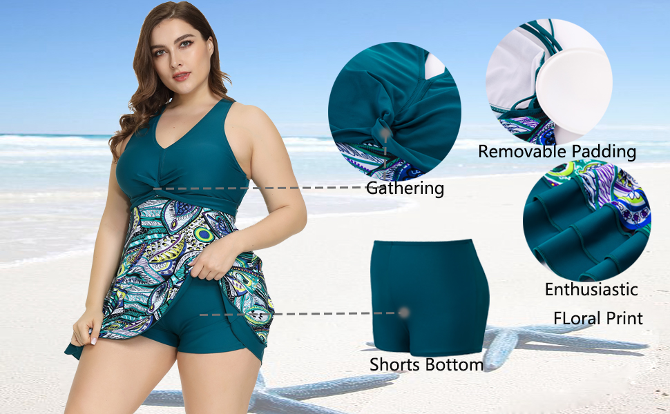 Plus Size Two Piece Shaping Body Floral Swimwear
