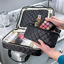 travel toiletry case, luggage toiletry bag, womens travel toiletry bag, hair dryer case