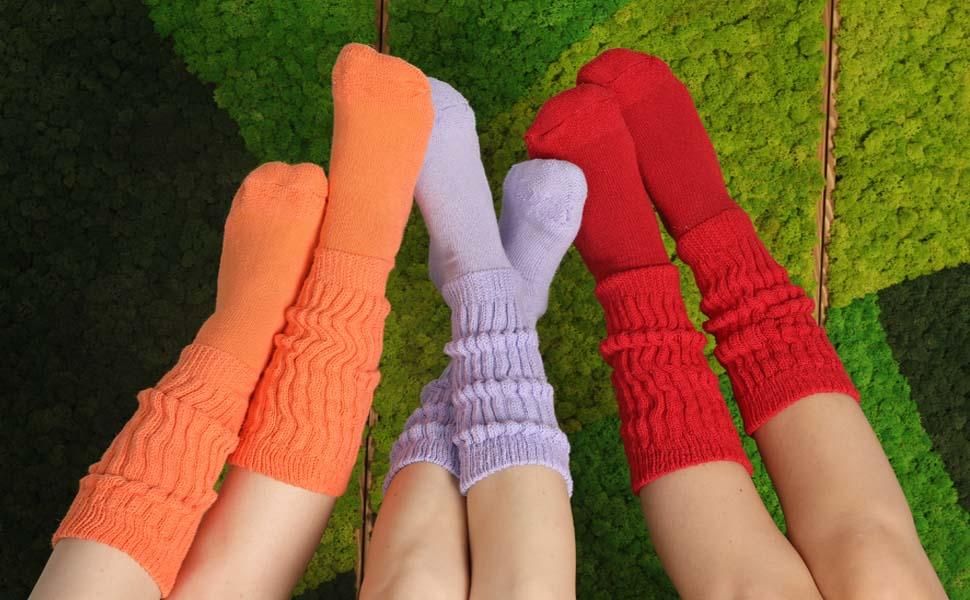 Women/'s Slouch Socks Scrunchie Cotton Workout Leg Long Loose Socks Dark Green