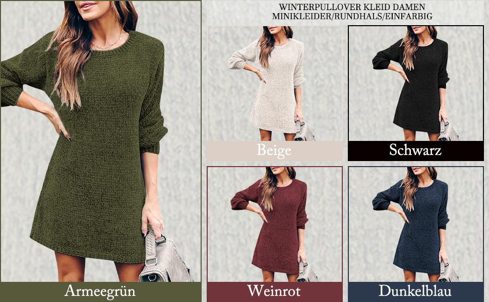 YOINS Damen Kleider Blusenkleid Elegant Longshirt V-Ausschnitt 1//2 /Ärmel Hemdkleid Kurze Minikleid mit Kn/öpfe