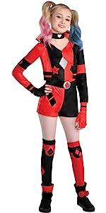 harley quinn birds of prey halloween costume for girls black red joker punk badass sassy cute comic