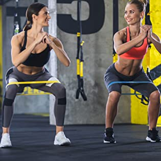Exercise bands in use