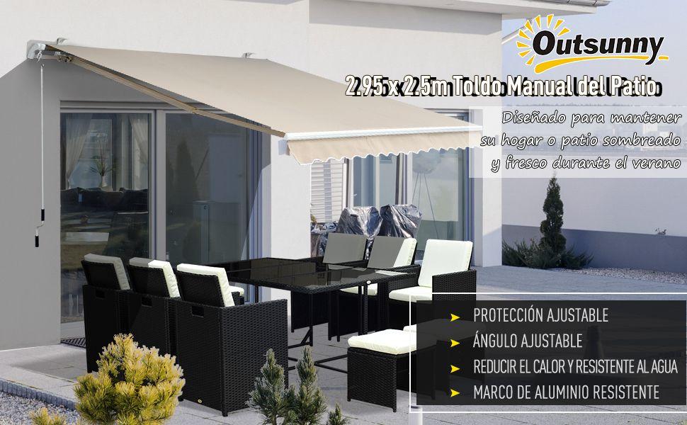 Outsunny Toldo Manual Plegable de Aluminio Ángulo Ajustable Manivela para Exterior Balcón Jardín Terraza 3x2, 5m: Amazon.es: Jardín