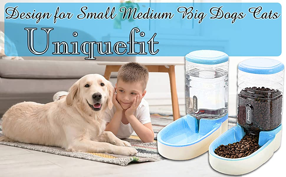 2-in-1 bundle: 1* Water Dispenser and 1 * Feeder, fits for LARGE &SMALL dogs, cats and rabbits.