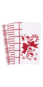 Candy Cane Mints Red Holiday White Linen Towels Dish