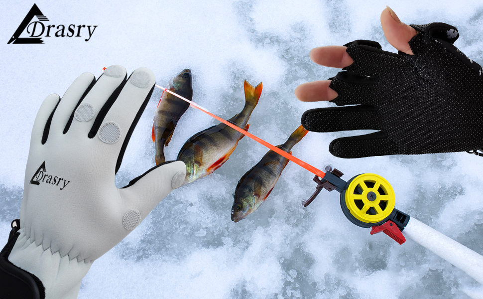 Neoprene Fishing Gloves Touchscreen 3 Cut Fingers Warm Cold Weather Waterproof for Men and Women Ice