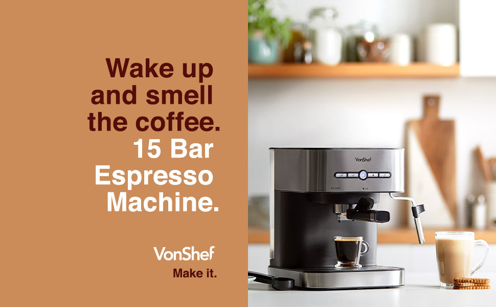 Vonshef Espresso Machine 15 Bar Pressure Pump Barista Coffee Maker With Milk Frother For Latte Cappuccino Americano Flat White And More