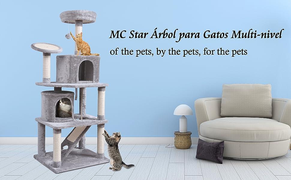 MC Star XXL Árbol para Gatos Rascador para Gatos con 2 Casa Acogedora, Plataforma Engrosada, Varias Tabla de Rascar y Juguetes 161cm, Gris Claro: Amazon.es: Productos para mascotas