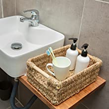 Small seagrass basket for bathroom