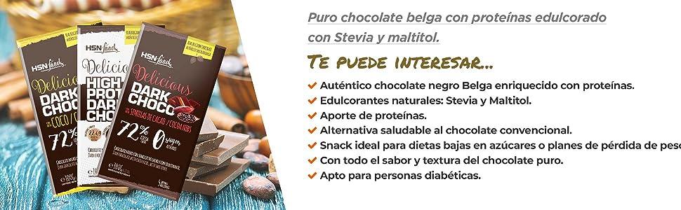 Tableta de Chocolate Hiperproteico de HSN   High Protein Dark Chocolate   Rico en Proteína   Edulcorado con Stevia   Vegetariano, Sin Azúcar, Sin ...