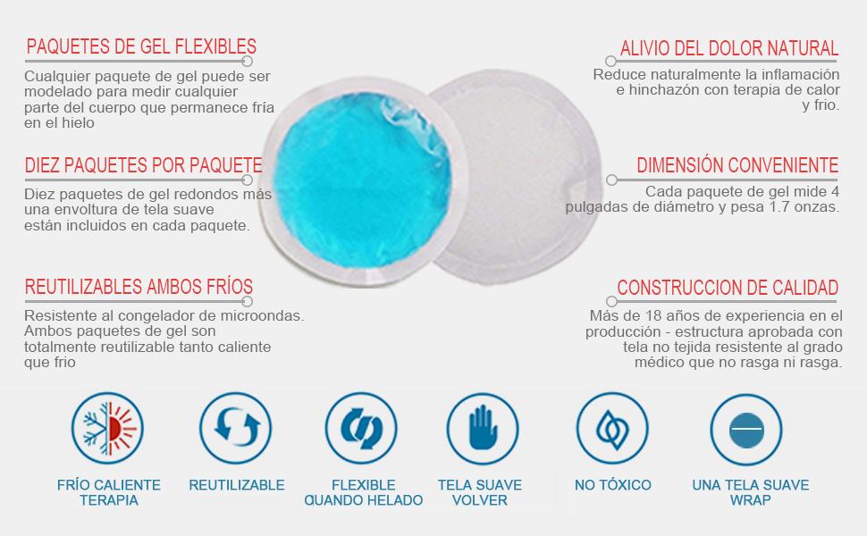Paquetes de hielo gel redondos y reutilizables(paquete 10) para ...