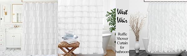 Ella cotton lace ruffle shower curtain white