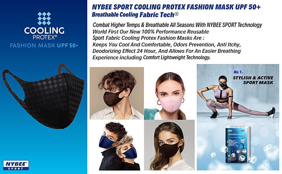 cooling protex fashion sport mask upf50+ uv protection cooling mask breathable gym active sports