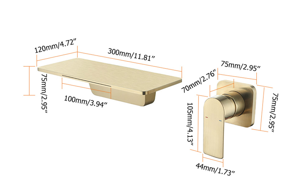 lavatory sink faucet waterfall brushed gold